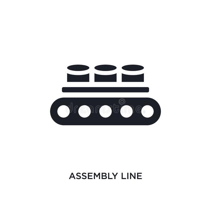 icona di vettore isolata catena di montaggio nera illustrazione semplice dell'elemento dalle icone di vettore di concetto di indu illustrazione di stock