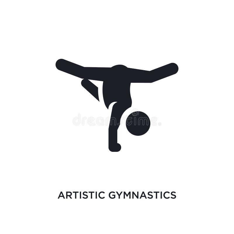 icona di vettore isolata ginnastica artistica nera illustrazione semplice dell'elemento dalle icone di vettore di concetto di spo illustrazione di stock