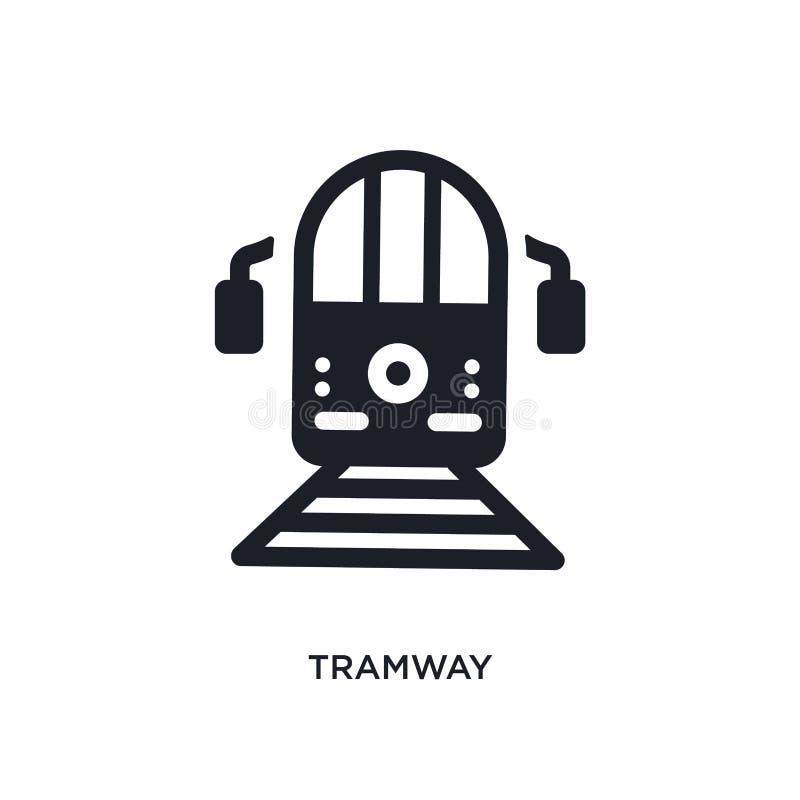 icona di vettore isolata linea tranviaria nera illustrazione semplice dell'elemento dalle icone di vettore di concetto del traspo illustrazione di stock