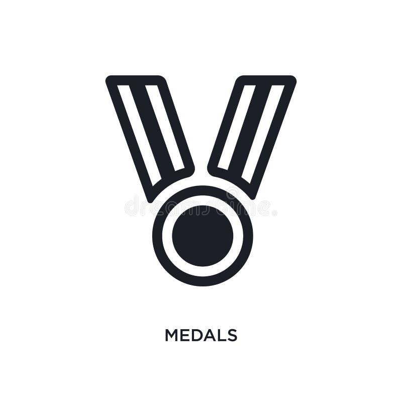 icona di vettore isolata medaglie nere illustrazione semplice dell'elemento dalle icone di vettore di concetto di calcio logo ner royalty illustrazione gratis