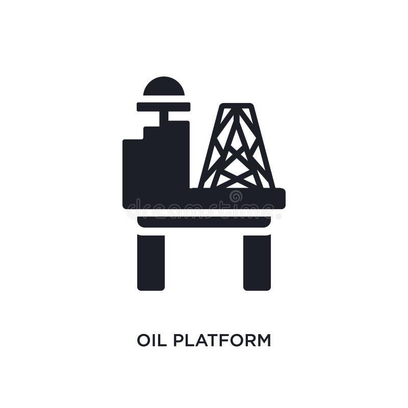 icona di vettore isolata piattaforma petrolifera nera illustrazione semplice dell'elemento dalle icone di vettore di concetto di  illustrazione di stock