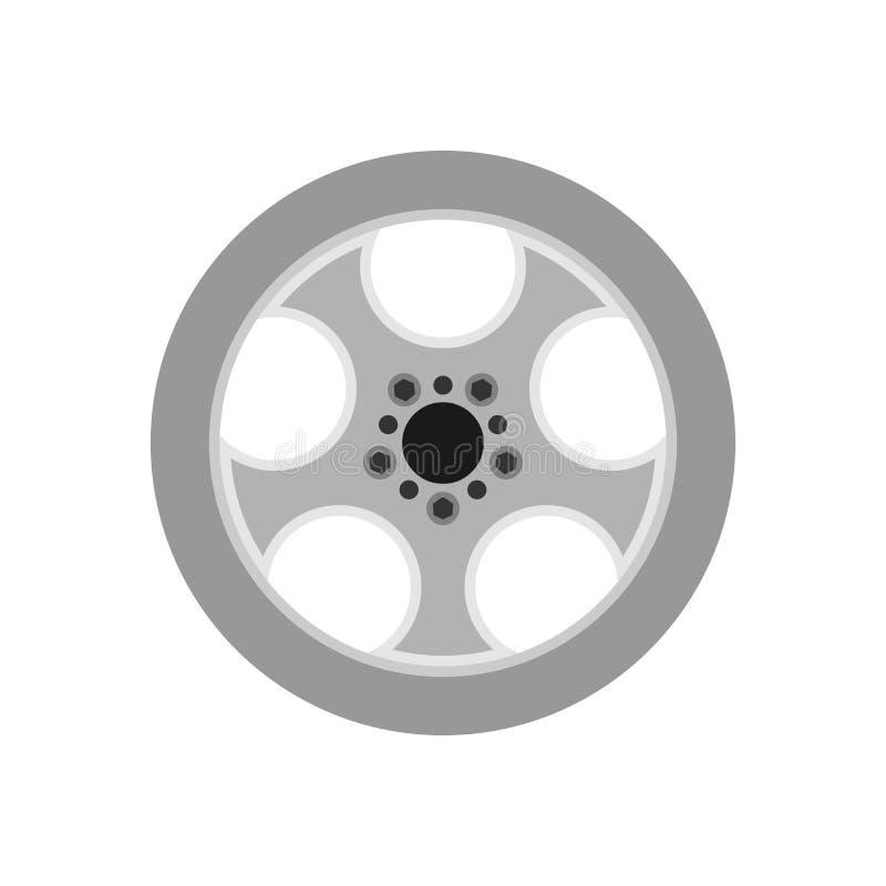 Icona di vettore isolata ruota dell'automobile dell'automobile dell'orlo Disco di gomma della gomma della lega del cerchio Freno  illustrazione di stock