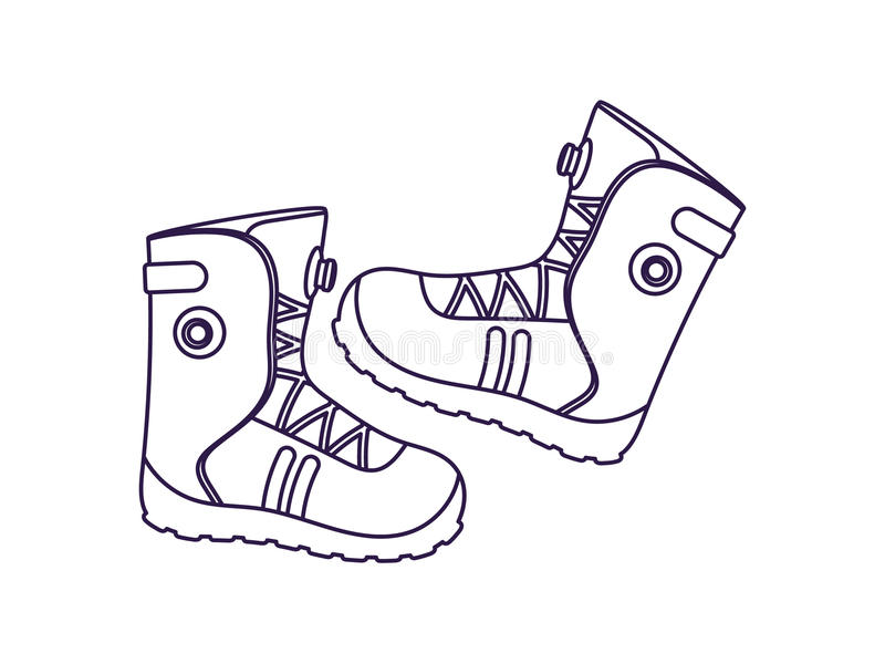 Icona di vettore isolata stivali di alpinismo illustrazione vettoriale