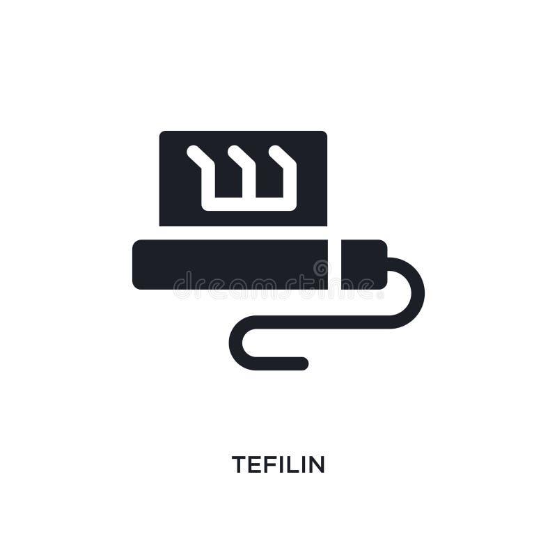 icona di vettore isolata tefilin nero illustrazione semplice dell'elemento dalle icone di vettore di concetto di religione simbol illustrazione di stock