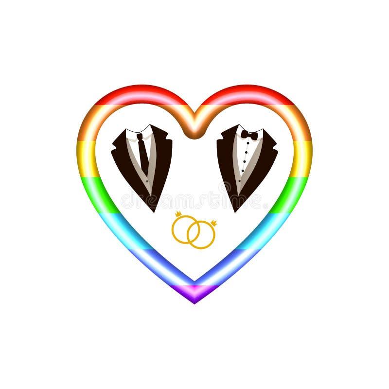 Icona di vettore LGBT: Cuore, anelli ed icone dei vestiti del maschio colorati arcobaleno, carta dell'invito di nozze illustrazione di stock