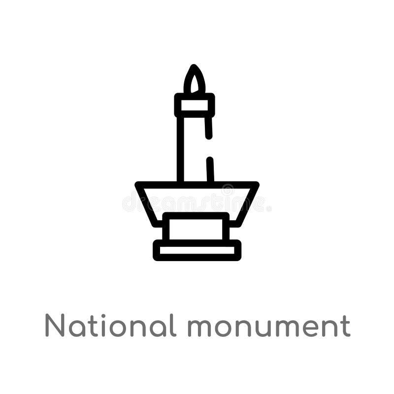 icona di vettore di monas del monumento nazionale del profilo linea semplice nera isolata illustrazione dell'elemento dal concett royalty illustrazione gratis