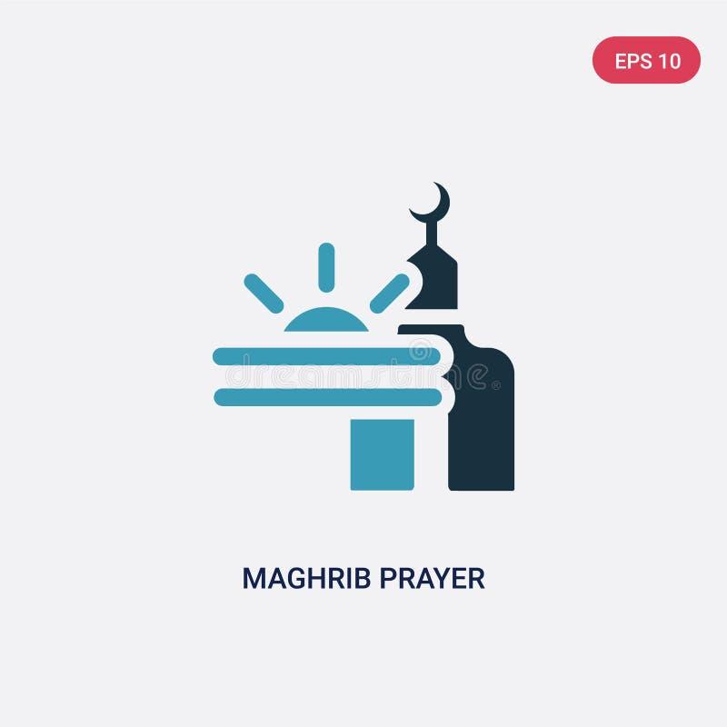 Icona di vettore di preghiera del maghrib di due colori dal concetto religion-2 il simbolo blu isolato del segno di vettore di pr illustrazione di stock