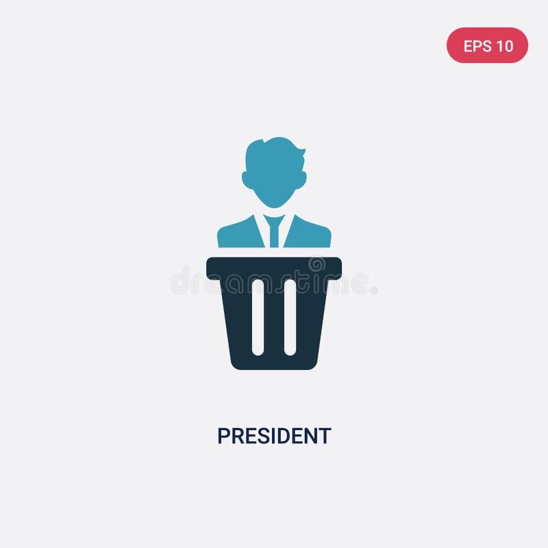 Icona di vettore di presidente di due colori dal concetto di professioni il simbolo blu isolato del segno di vettore di president illustrazione vettoriale