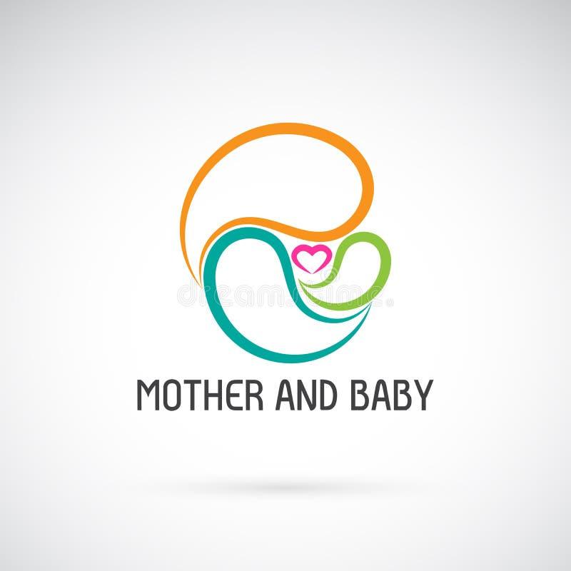 Icona di vettore di progettazione del bambino e della madre Espressione di amore illustrazione di stock