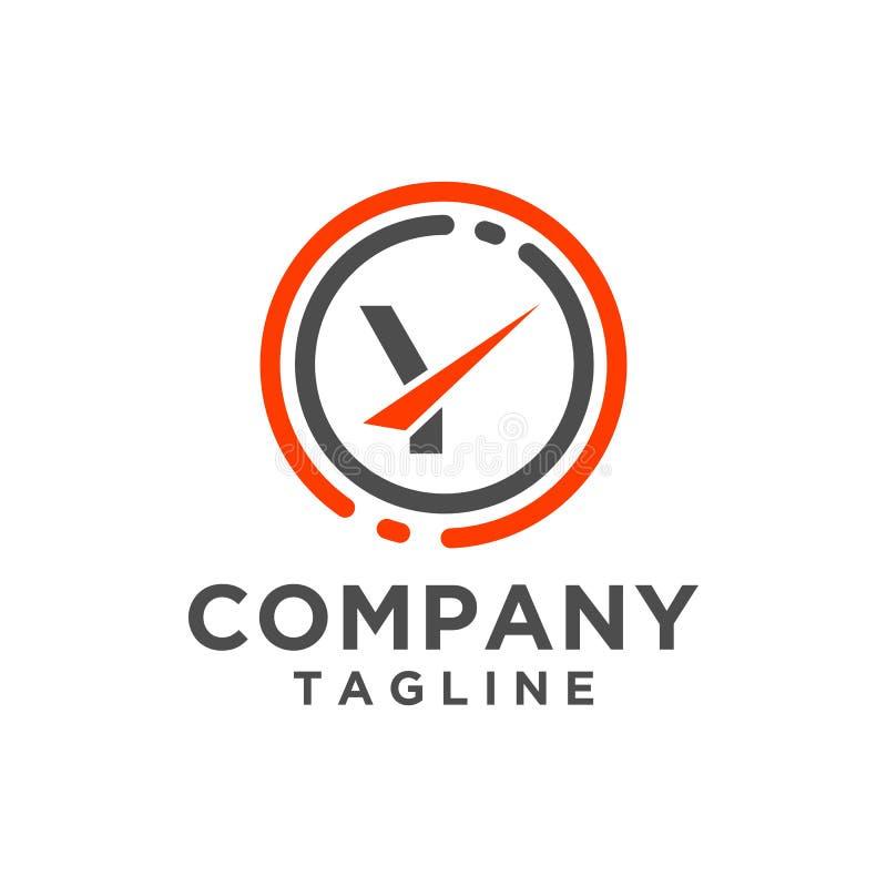 Icona di vettore di progettazione di logo della lettera con la linea del cerchio Stile minimalista illustrazione vettoriale