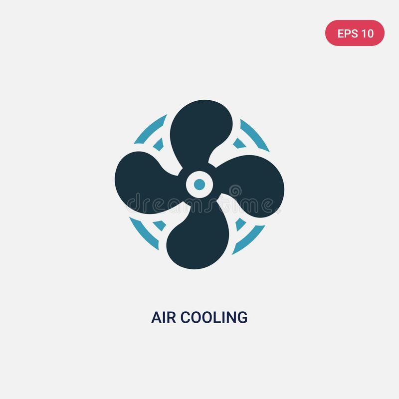 Icona di vettore di raffreddamento a aria di due colori dal concetto di sauna il simbolo blu isolato del segno di vettore di raff illustrazione di stock