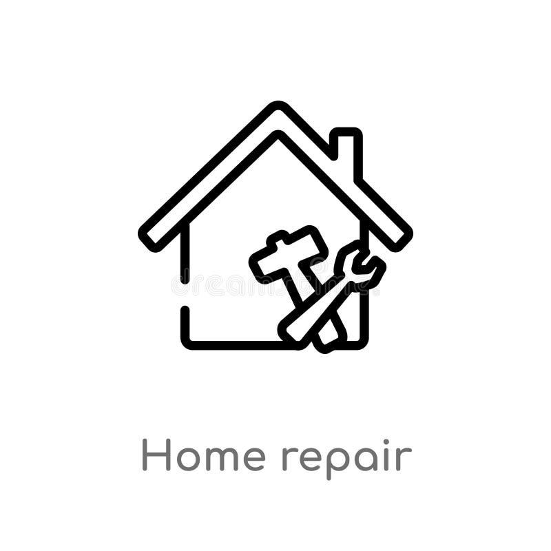 icona di vettore di riparazione della casa del profilo linea semplice nera isolata illustrazione dell'elemento dal concetto della illustrazione vettoriale