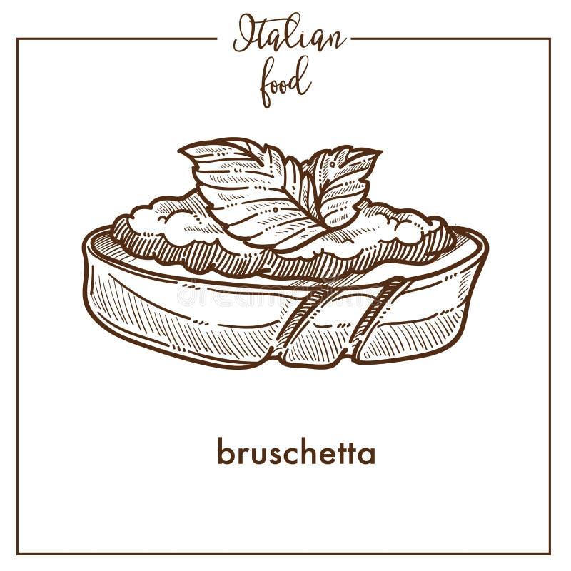 Icona di vettore di schizzo dello spuntino di Bruschetta per progettazione italiana del menu dell'alimento di cucina illustrazione vettoriale