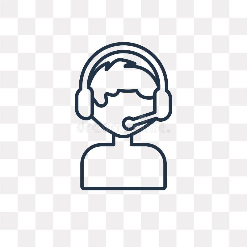 Icona di vettore di servizio di assistenza al cliente isolata su fondo trasparente, illustrazione di stock