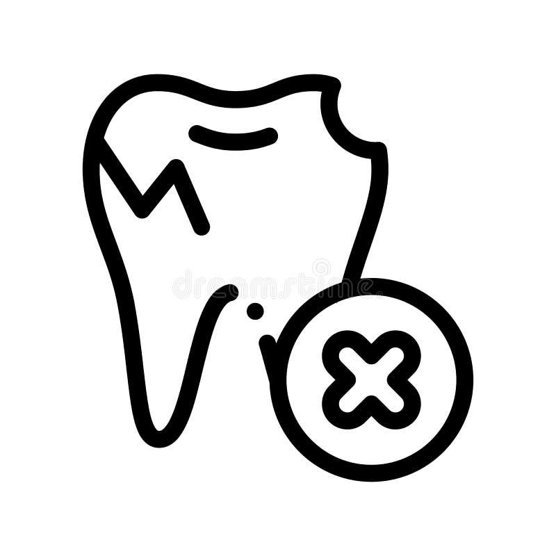 Icona di vettore di Stomatology Unhealthy Tooth del dentista illustrazione di stock