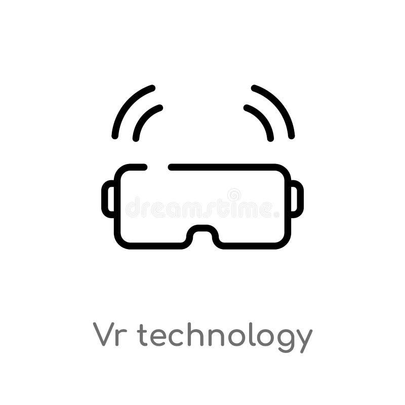 icona di vettore di tecnologia del vr del profilo linea semplice nera isolata illustrazione dell'elemento dal concetto domestico  illustrazione di stock
