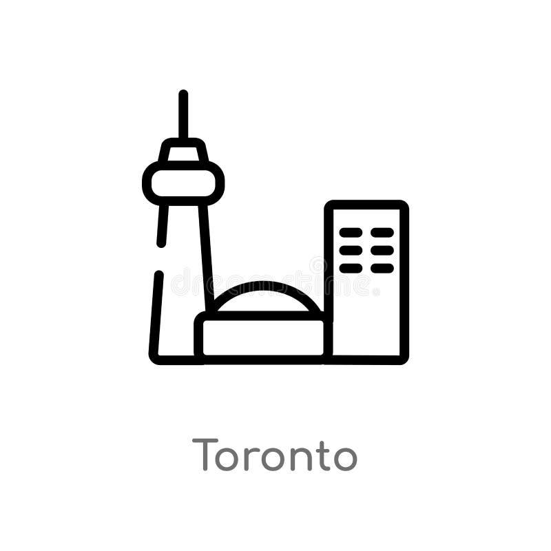 icona di vettore di Toronto del profilo linea semplice nera isolata illustrazione dell'elemento dal concetto di viaggio colpo edi illustrazione di stock
