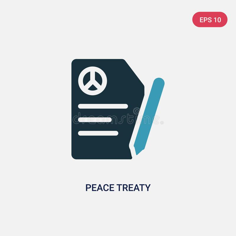Icona di vettore di trattato di pace di due colori dal concetto politico il simbolo blu isolato del segno di vettore di trattato  illustrazione vettoriale