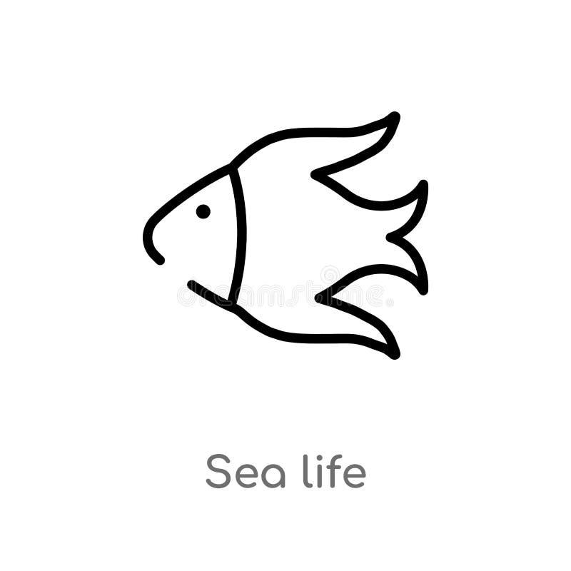 icona di vettore di vita di mare del profilo linea semplice nera isolata illustrazione dell'elemento dal concetto dell'alimento v royalty illustrazione gratis