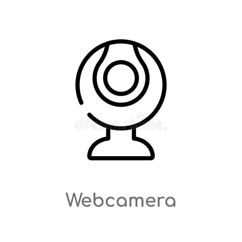 icona di vettore di webcamera del profilo linea semplice nera isolata illustrazione dell'elemento dal concetto del computer Colpo royalty illustrazione gratis