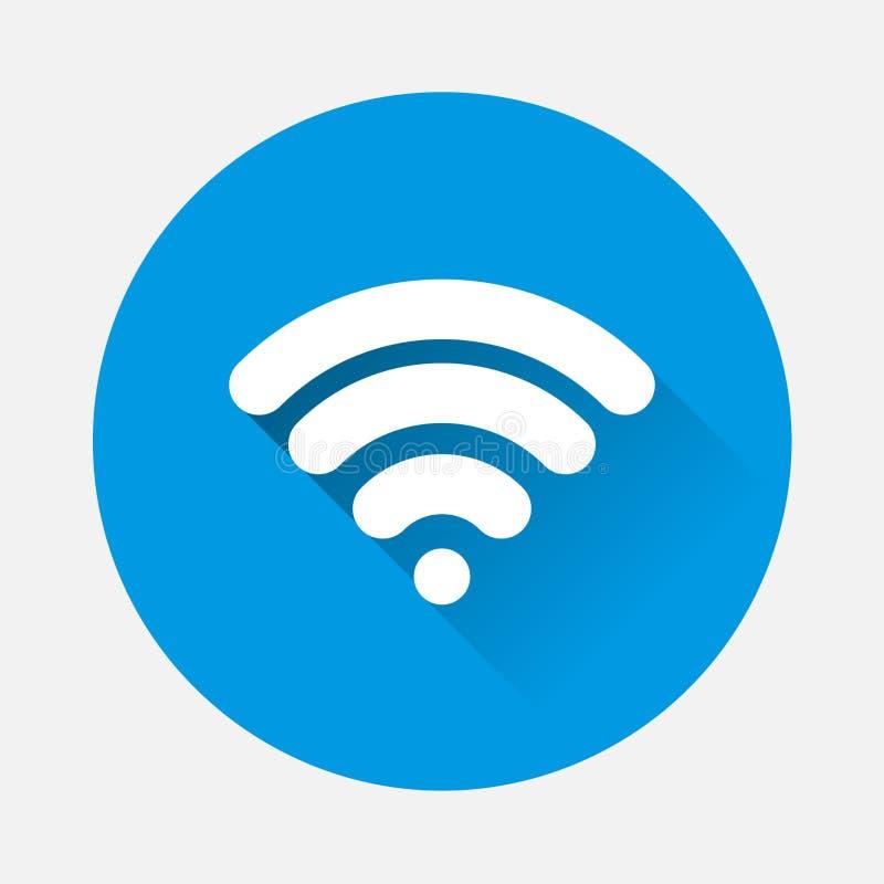 Icona di vettore di WiFi su fondo blu Logo piano di Wi-Fi di immagine con illustrazione di stock