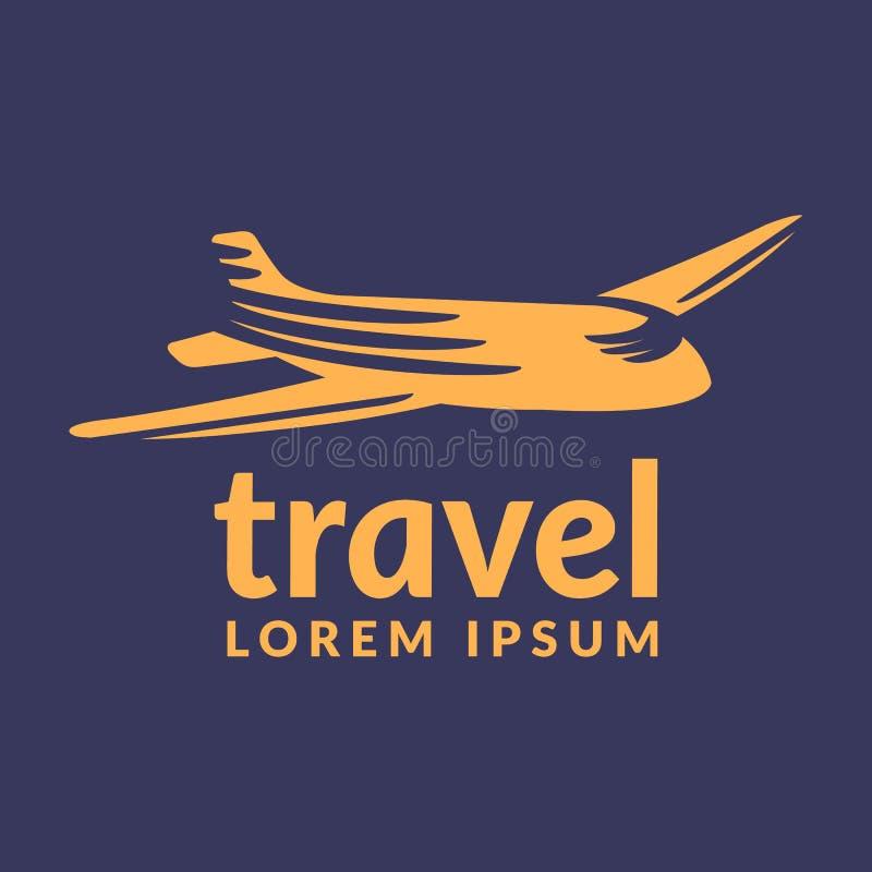 Icona di viaggio æreo Logo di viaggio Logo di Pin Posizione sul concetto di logo della mappa Icona piana Logo piano Vettore piano immagine stock libera da diritti