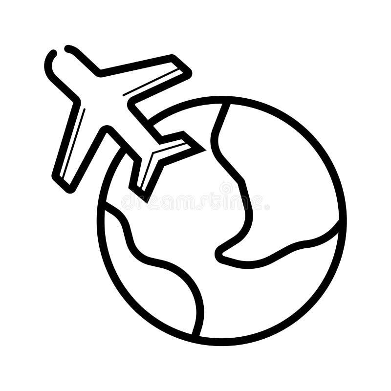 Icona di viaggio dell'aereo e del globo Icona di corsa Icona dell'aeroplano illustrazione di stock