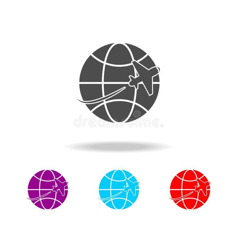 Icona di viaggio dell'aereo e del globo Elementi del viaggio nelle multi icone colorate Icona premio di progettazione grafica di  illustrazione vettoriale