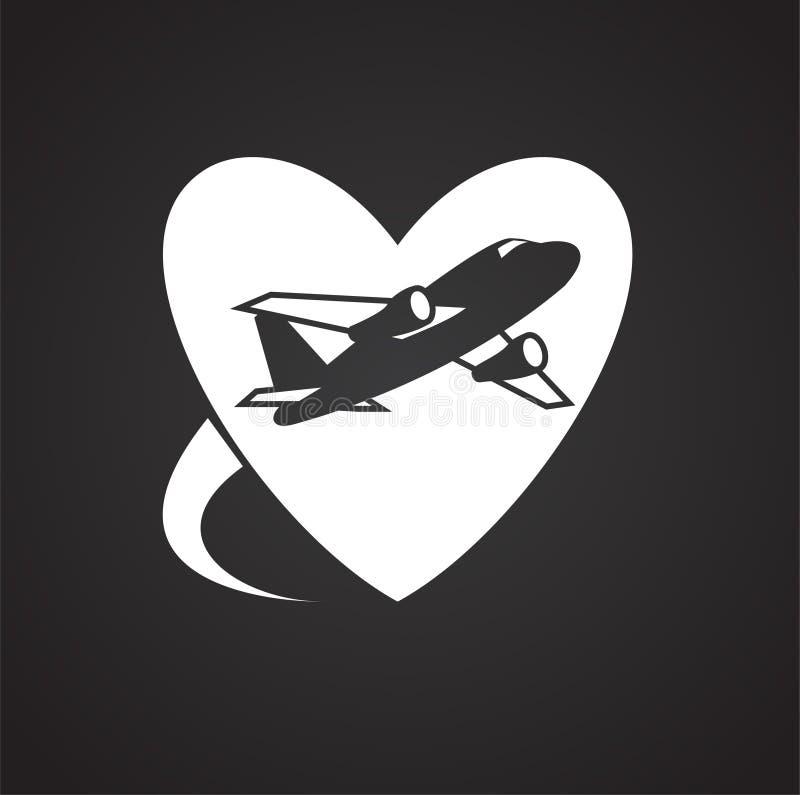 Icona di viaggio di luna di miele di nozze su fondo nero per il grafico ed il web design, segno semplice moderno di vettore Conce illustrazione vettoriale