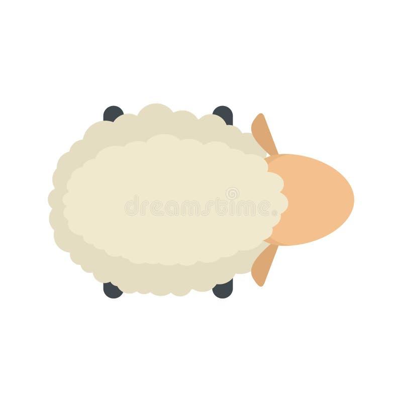 Icona di vista dell'aria delle pecore, stile piano illustrazione di stock