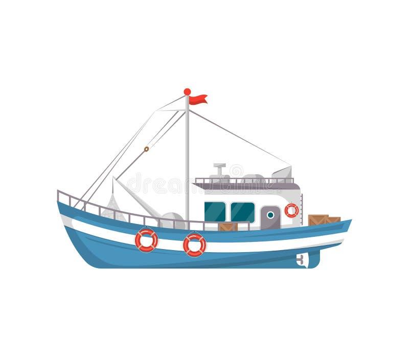 Icona di vista laterale della barca di pesca professionale illustrazione di stock