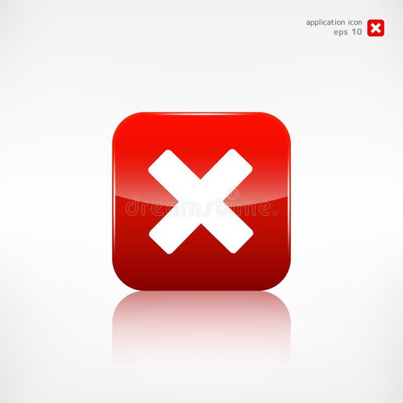 Icona di web di cancellazione Simbolo vicino bottone di applicazione illustrazione vettoriale