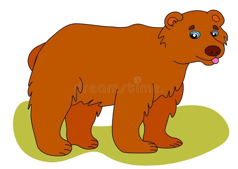 Icona di web dell'orso bruno L'illustrazione di vettore, un grande orso selvaggio sta sorridendo royalty illustrazione gratis