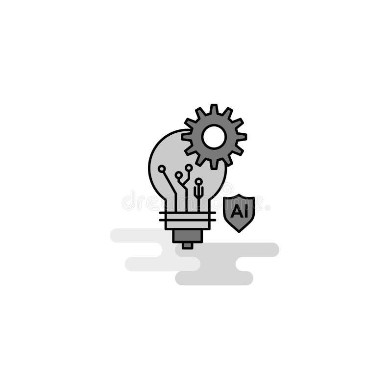 Icona di web della regolazione della lampadina La linea piana ha riempito Gray Icon Vector illustrazione vettoriale