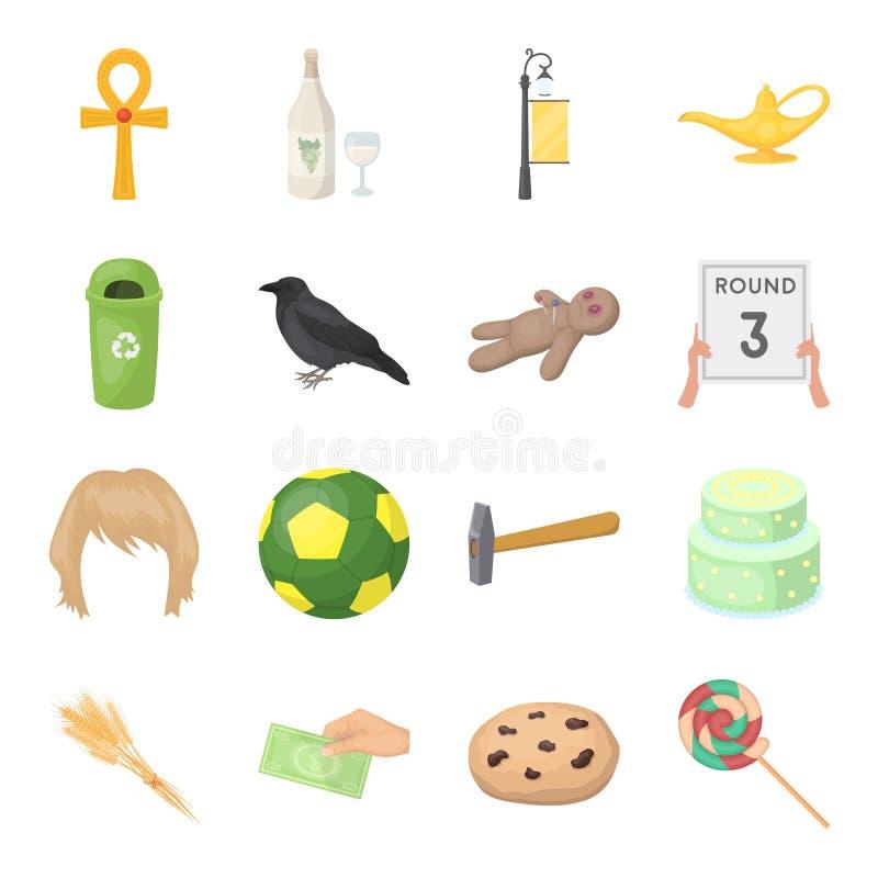 Icona di web di sport, di ricreazione, di cottura ed altro nello stile del fumetto uva passa, caramella, icone dei dolci nella ra illustrazione di stock