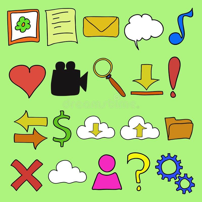 Icona di web di stile di scarabocchio nei colori luminosi illustrazione di stock