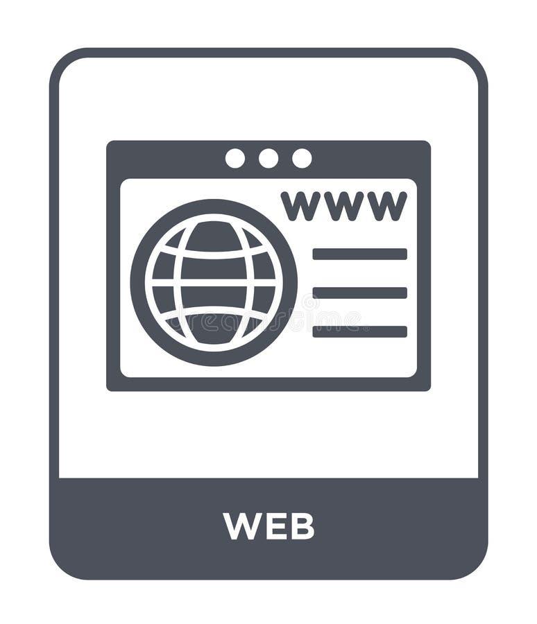 icona di web nello stile d'avanguardia di progettazione Icona di web isolata su fondo bianco simbolo piano semplice e moderno del illustrazione di stock