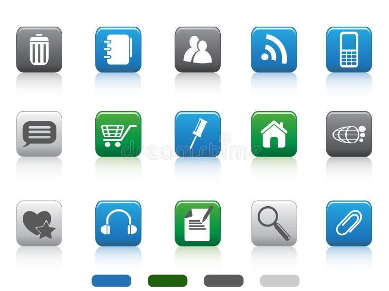 Icona di Web - serie quadrata di colore illustrazione di stock