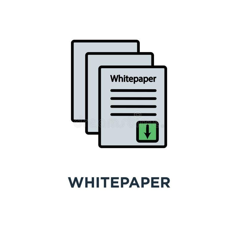 Icona di Whitepaper progettazione principale di simbolo di concetto del documento di investimento di ico, strategia della società illustrazione vettoriale