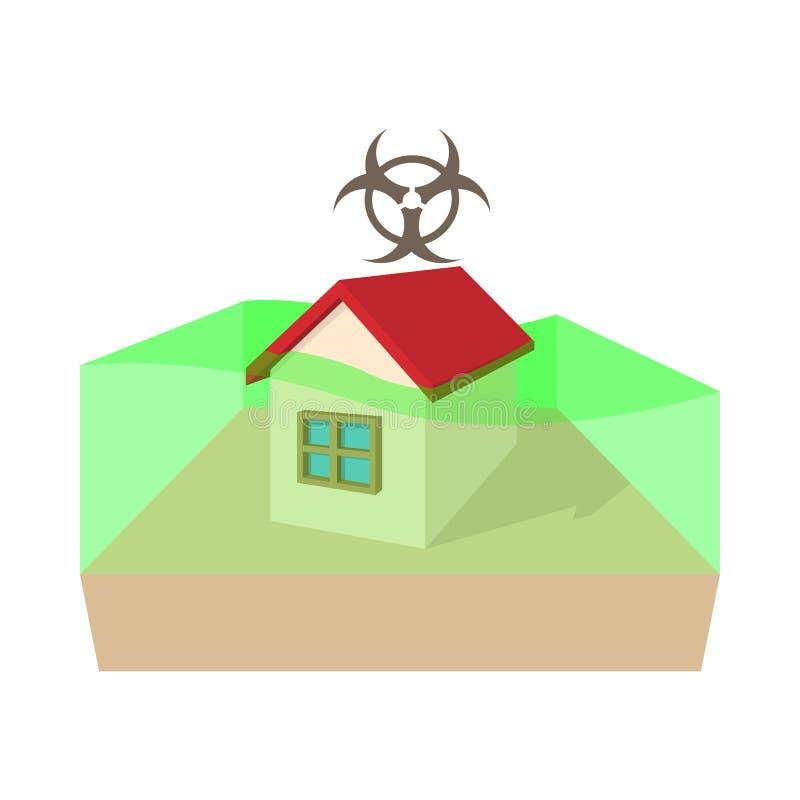 Icona di zona di rischio biologico, stile del fumetto illustrazione di stock