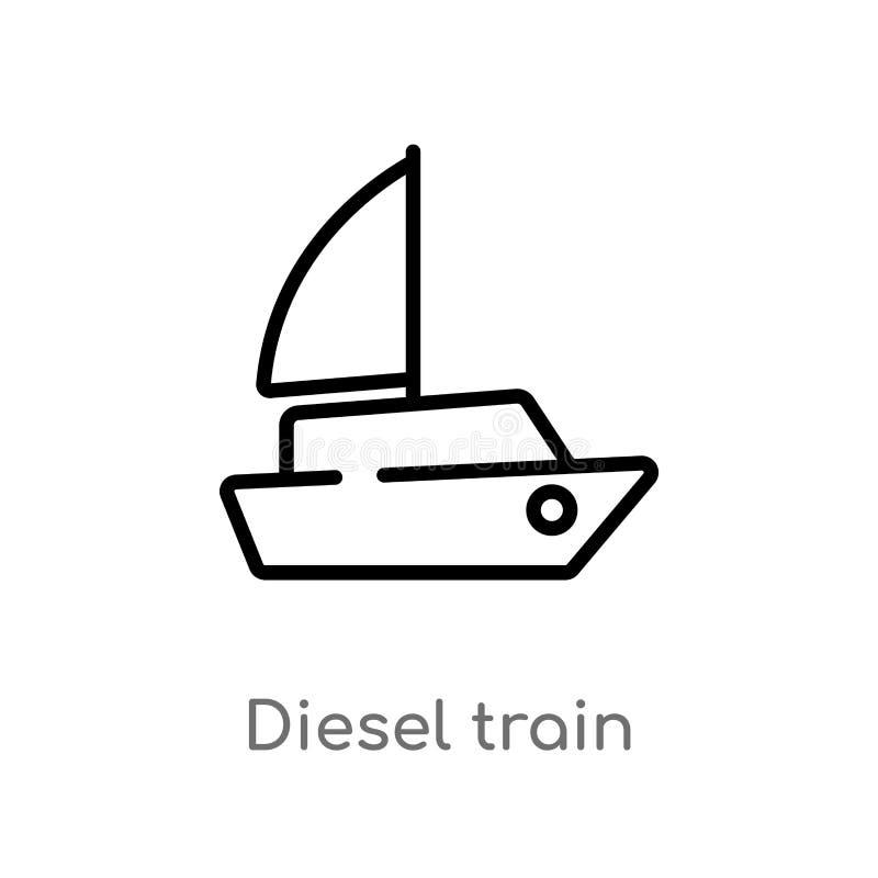 icona diesel di vettore del treno del profilo linea semplice nera isolata illustrazione dell'elemento dal concetto di trasporto C illustrazione di stock