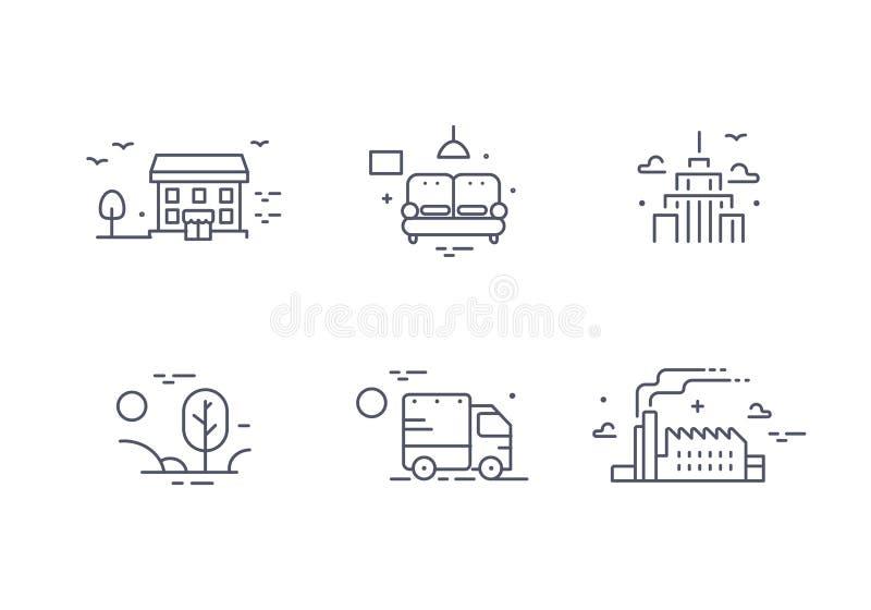 Icona differente delle costruzioni messa per l'agenzia immobiliare Raccolta della proprietà Linea sottile progettazione Stile pia illustrazione vettoriale