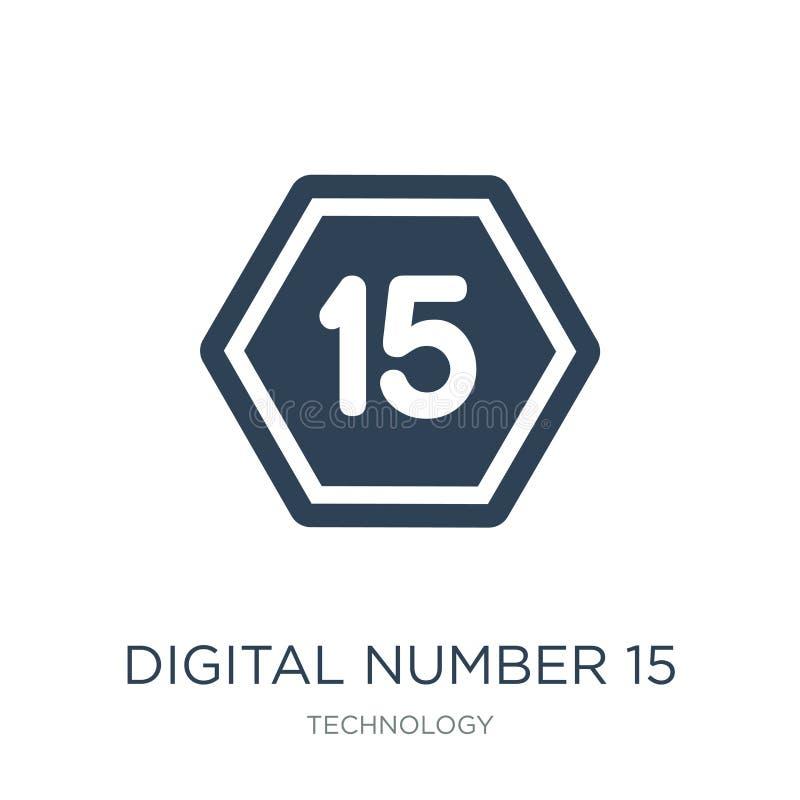 icona digitale di numero 15 nello stile d'avanguardia di progettazione icona digitale di numero 15 isolata su fondo bianco icona  royalty illustrazione gratis