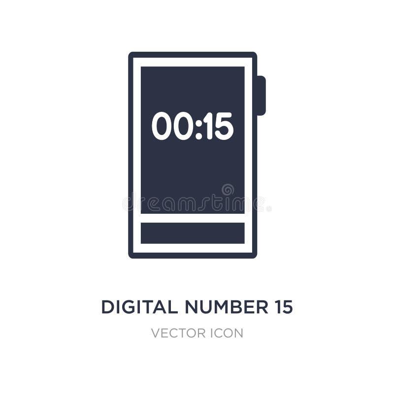 icona digitale di numero 15 su fondo bianco Illustrazione semplice dell'elemento dal concetto di tecnologia royalty illustrazione gratis