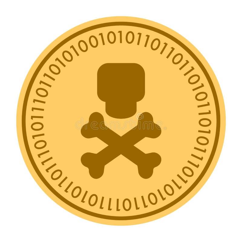 Icona digitale dorata della moneta di tibie incrociate e del cranio Stile di vettore simbolo piano giallo di cryptocurrency della illustrazione vettoriale