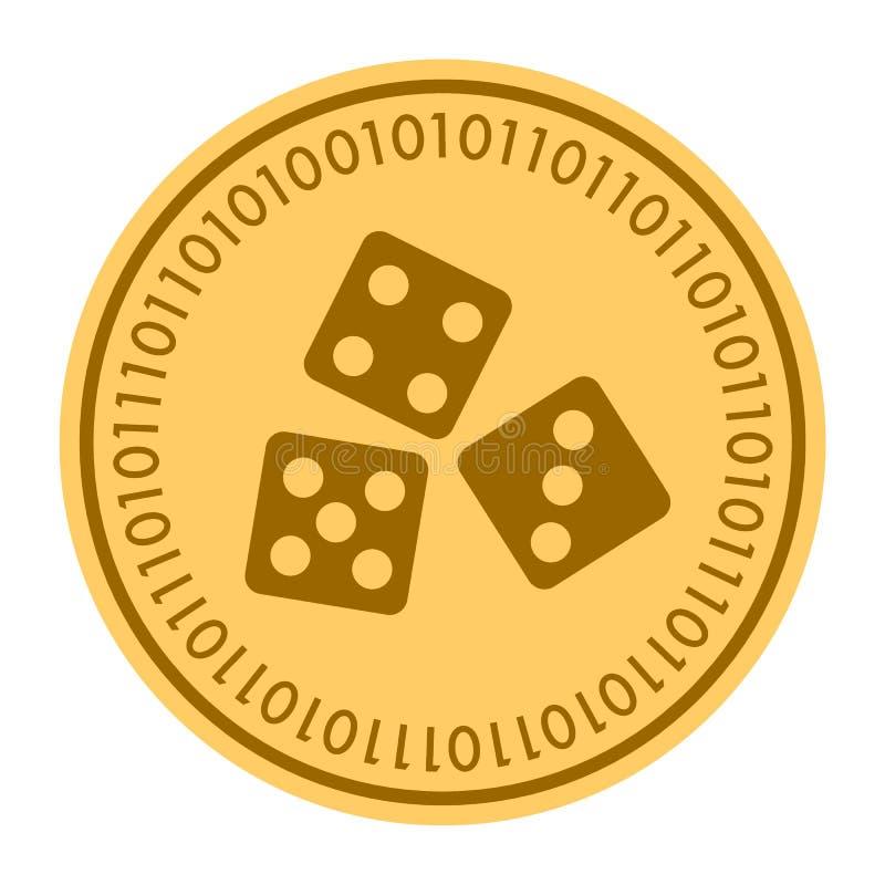 Icona digitale dorata di vettore della moneta dei dadi simbolo piano giallo di cryptocurrency della moneta dell'oro isolato su bi royalty illustrazione gratis