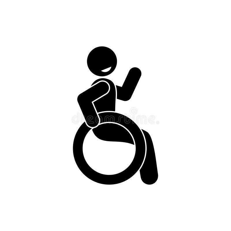 Icona disabile felice, figura uomo del bastone che si siede in una sedia a rotelle illustrazione di stock