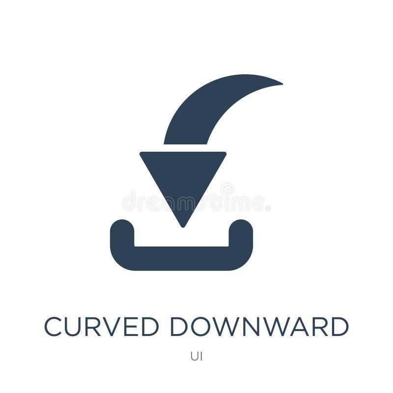 icona discendente curva della freccia nello stile d'avanguardia di progettazione icona discendente curva della freccia isolata su illustrazione di stock