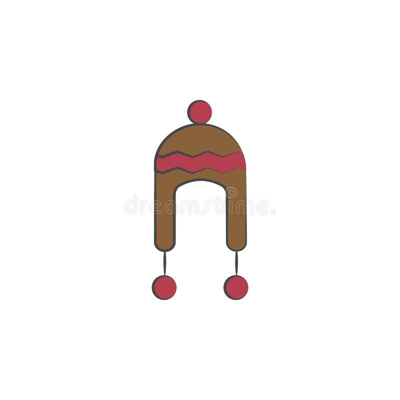 Icona disegnata a mano colorata cappello della lana Elemento dell'icona di autunno per i apps mobili di web e di concetto Il capp royalty illustrazione gratis