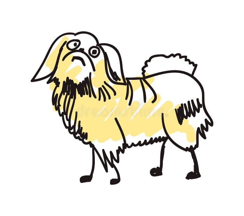 Icona disegnata a mano del cane di pechinese illustrazione di stock
